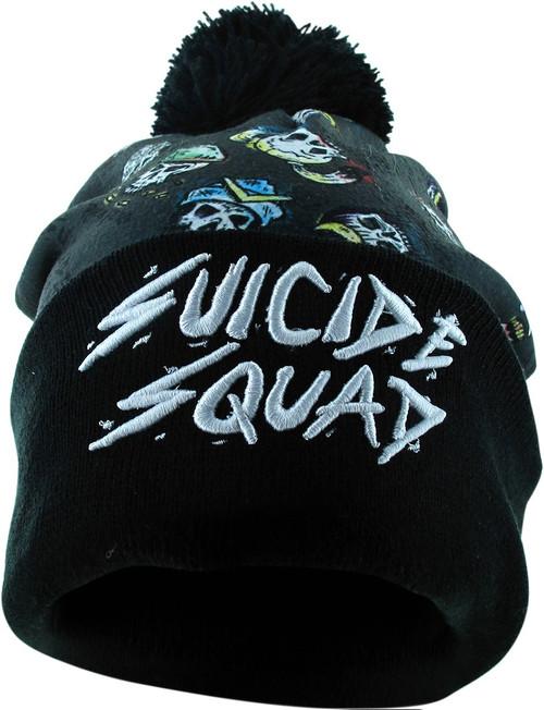 Suicide Squad Cast Skulls Cuff Pom Beanie