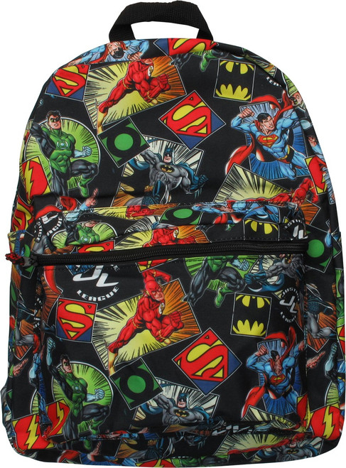 Justice League Heroes and Logos AoP Backpack