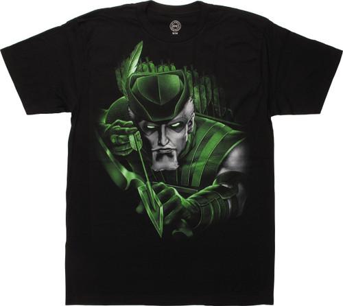 Green Arrow Airbrush Face T-Shirt