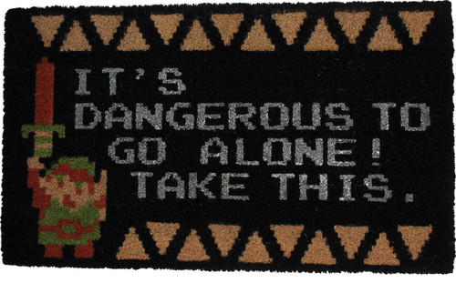 Zelda It's Dangerous to Go Alone Take This Doormat