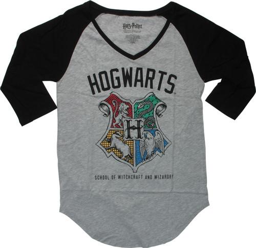 Harry Potter Hogwarts Crest Raglan Juniors T-Shirt