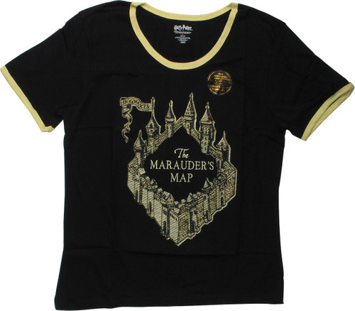 Harry Potter Marauder's Map Ringer Juniors T-Shirt