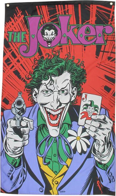 Joker Holding Card and Gun Pose Banner Flag