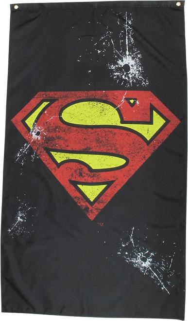 Superman Logo Bullet Holes Banner Flag