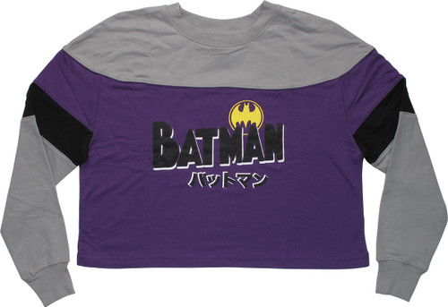 Batman Japanese Name Crop Top LS Juniors T-Shirt