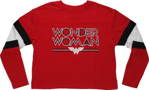 Wonder Woman Name Logo Crop Top LS Juniors T-Shirt