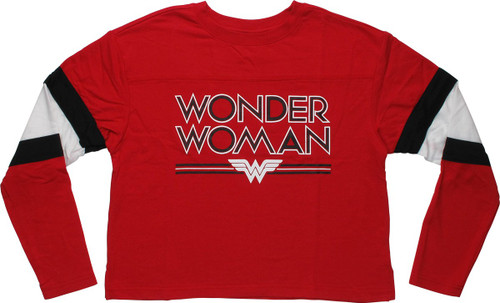 Wonder Woman Name Logo Crop Top LS Juniors T-Shirt