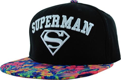 Superman Name Logo Hawaiian Floral Snapback Hat
