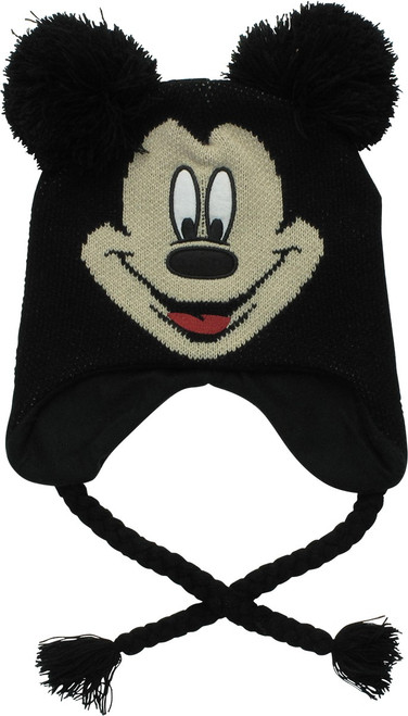 Mickey Mouse Face Pom Tassels Youth Beanie
