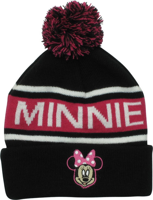 Minnie Mouse Character Name Cuff Pom Beanie