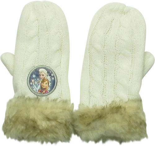 Frozen Anna Elsa Girls Faux Fur Mittens Gloves