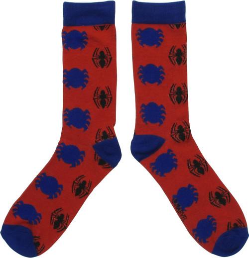 Spiderman Multiple Spider Logos Crew Socks