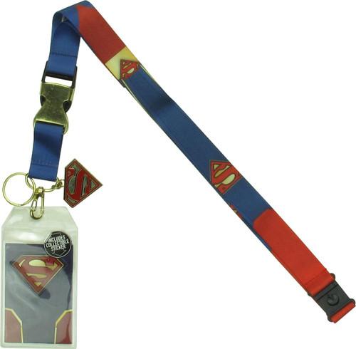Superman Classic Suit Metal Logo Charm Lanyard
