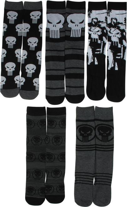 Punisher Hero Logos 5 Pair Casual Crew Socks Set