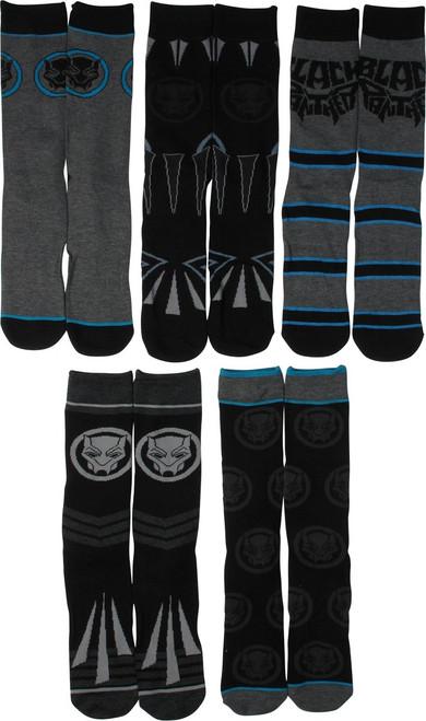 Black Panther Logos 5 Pair Casual Crew Socks Set