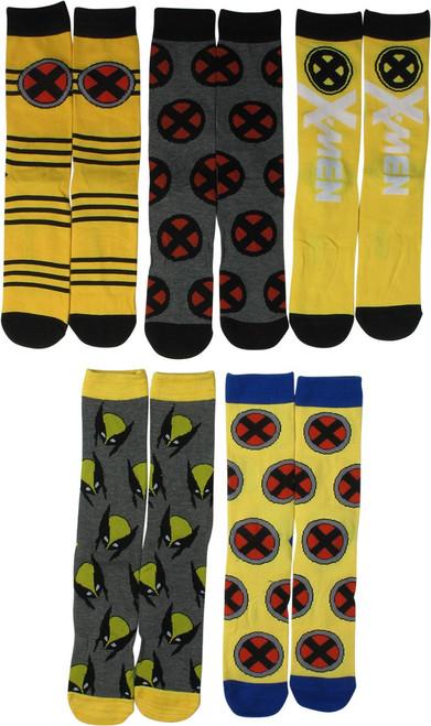 X Men Logos Wolverine 5 Pair Casual Crew Socks Set