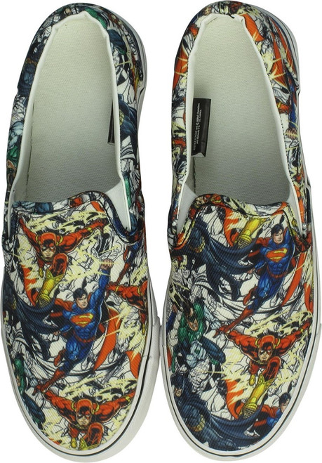Justice League Heroes White Deck Shoes