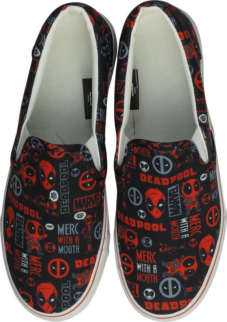 Deadpool Faces Black and Red Deck Shoes