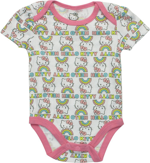 Hello Kitty Rainbow Allover Print White Snap Suit