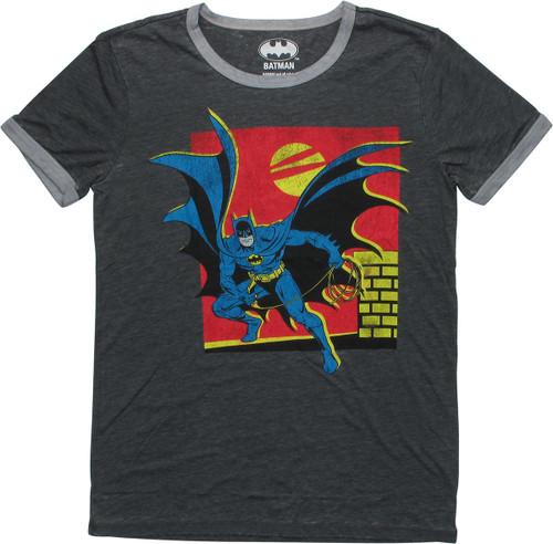 Batman Batarang Sunset Rooftop Juniors T-Shirt