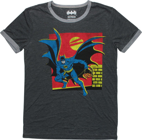 Batman Batarang Sunset Rooftop Juniors T-Shirt