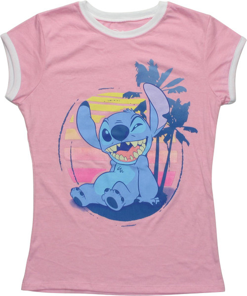 Lilo and Stitch Stitch Sunset Pink Juniors T-Shirt