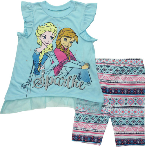 Frozen Sparkle Girls Leggings Juvenile T-Shirt Set