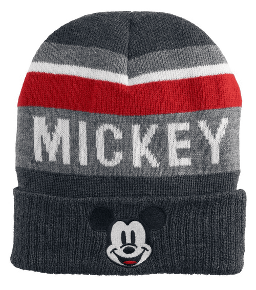 Mickey Mouse Face Name Striped Cuff Beanie