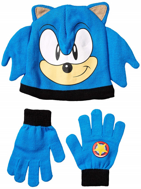 Sonic the Hedgehog Face Youth Beanie Gloves Set