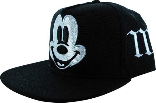 Mickey Mouse Big Face M Black Snapback Hat
