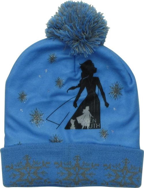 Frozen Elsa Hidden Truth Lt Blue Cuff Pom Beanie