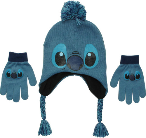 Lilo and Stitch Face Pom Youth Beanie Gloves Set