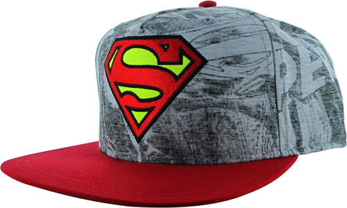 Superman Sketch Gray Red Bill Snapback Youth Hat