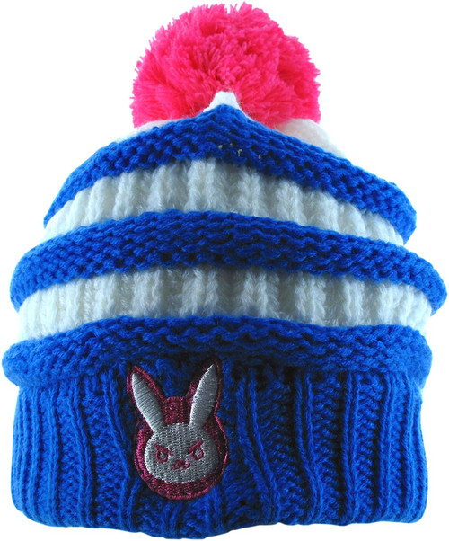 Overwatch D.Va Rabbit Logo Striped Cuff Pom Beanie