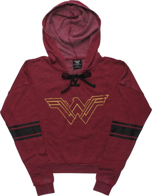 Wonder Woman Metallic Logo Burnout Pullover Hoodie