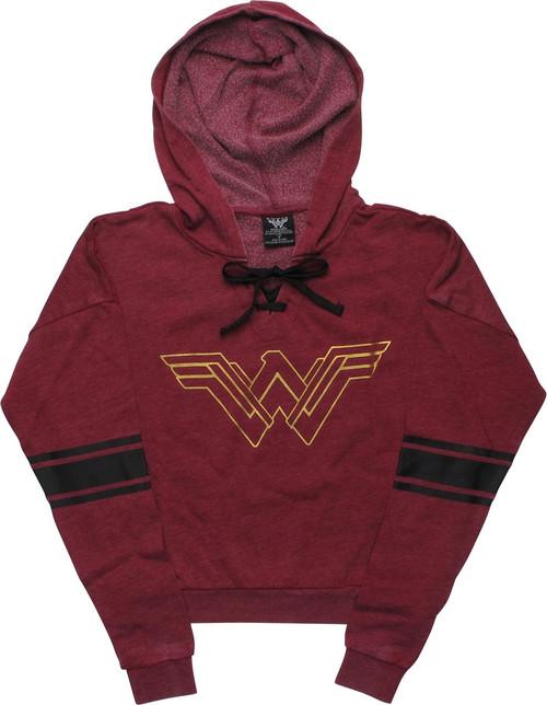 Wonder Woman Metallic Logo Burnout Pullover Hoodie