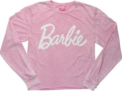 Barbie Logo Long Sleeve Pink Crop Juniors T-Shirt