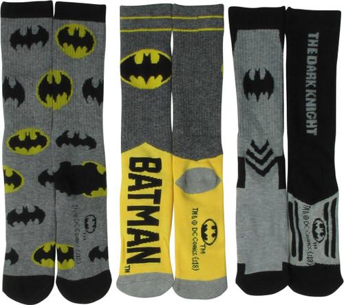 Batman Logo 3 Pair Athletic Crew Socks Set