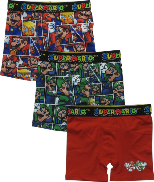 Super Mario Characters 3 Pack Boys Boxer Briefs