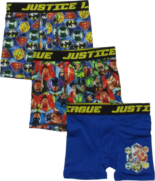 Justice League Hero Logos 3 Pack Boys Boxer Briefs