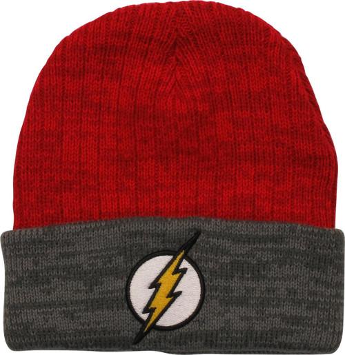 Flash Logo Gray Cuff Red Beanie