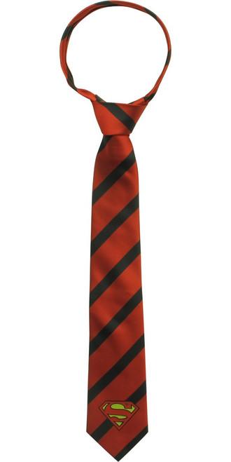 Superman Logo Clark Kent Red Black Striped Tie