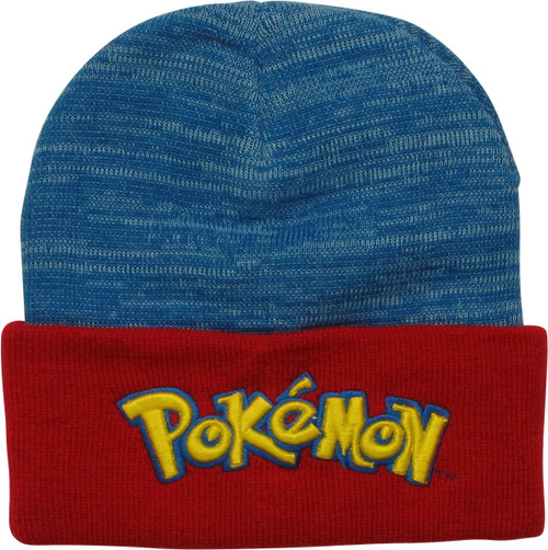 Pokemon Name Logo Blue Red Cuff Beanie