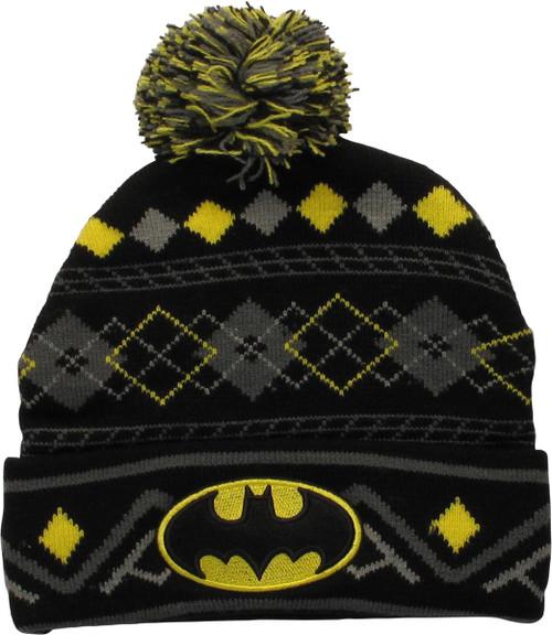 Batman Batman Logo Argyle Design Cuff Pom Beanie