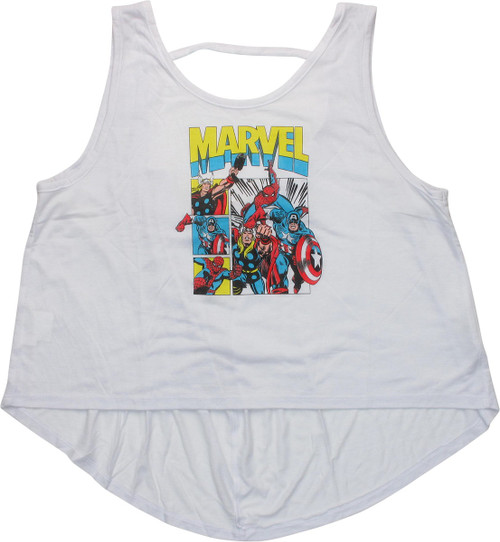 Avengers Group Panels Low Back Juniors Tank Top