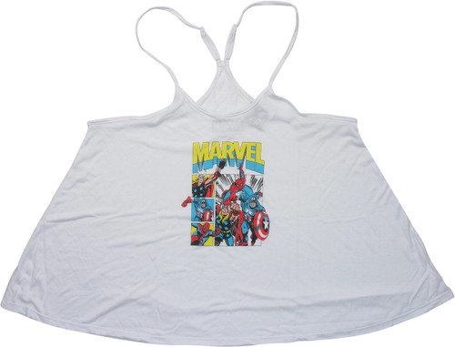 Avengers Panels Spaghetti Y-Back Juniors Tank Top
