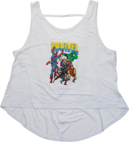 Avengers Marvel Group Low Back Juniors Tank Top