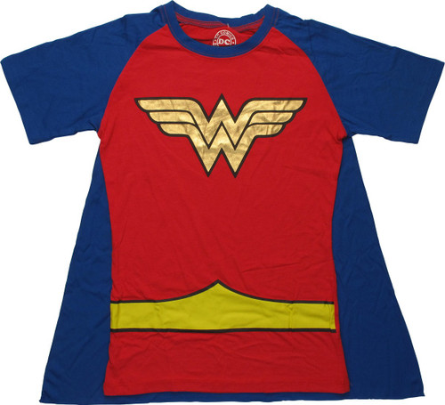 Wonder Woman Belt Costume Caped Juniors T-Shirt
