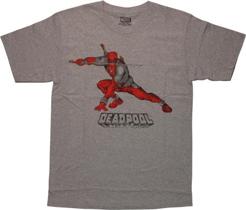 Deadpool Katana Battle Stance Artwork Gray T-Shirt