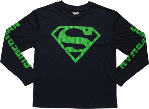 Superman Mesh Logo Long Sleeve Youth T-Shirt